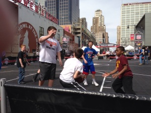 The boys played basketball at the Big 12 tournament as many days as they could fit it in.