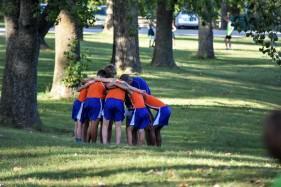 Team prayer and pep talk